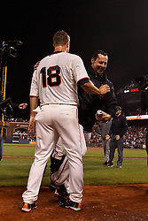 SAN FRANCISCO, CA - JUNE 13: Matt Cain #18 of the San Francisco Giants is congratulated by teammates after the game against the Houston Astros at AT&T Park on June 13, 2012 in San Francisco, California. Cain pitched a perfect game as the San Francisco Giants defeated the Houston Astros 10-0. (Photo by Jason O. Watson/Getty Images) *** Local Caption *** Matt Cain