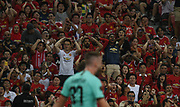 Fans react during an International Champions Cup game won by Manchester United 1-0, Saturday, July 20, 2019, in Singapore. (Kim Teo/Image of Sport)
