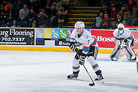 KELOWNA, CANADA - JANUARY 23: Lucas Johansen #7 of Kelowna Rockets skates with the puck against the Medicine Hat Tigers on January 23, 2016 at Prospera Place in Kelowna, British Columbia, Canada.  (Photo by Marissa Baecker/Shoot the Breeze)  *** Local Caption *** Lucas Johansen;