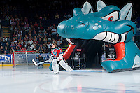 KELOWNA, CANADA - SEPTEMBER 20: Jackson Whistle #1 of Kelowna Rockets enters the ice at the start of the Kelowna Rockets home opener against the Kamloops Blazers on September 20, 2014 at Prospera Place in Kelowna, British Columbia, Canada.   (Photo by Marissa Baecker/Shoot the Breeze)  *** Local Caption *** Jackson Whistle;