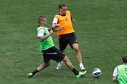 BALTIMORE, MD - Friday, July 27, 2012: Liverpool's Martin Skrtel and Andy Carroll during a training session ahead of the pre-season friendly match against Tottenham Hotspur at the M&T Bank Stadium. (Pic by David Rawcliffe/Propaganda)