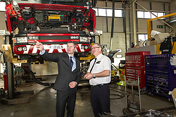 Pictured: Derek Mackay met workshop manager Brian McGleave during his visit<br /> <br /> Today Finance Secretary Derek Mackay visit the Scottish Fire and Rescue Services' East HQ in Edinburgh ahead of a meeting with other finance ministers  on VAT costs. During his tour of the facilities, the Finance Secretary spoke to firefighters and staff prior to hosting the Finance Ministers Quadrilateral where he will raise the issue of the GBP35 million annual VAT cost faced by Scottish police and fire services in contrast to other territorial police and fire services in the UK.<br /> <br /> Ger Harley | EEm 14 February 2017