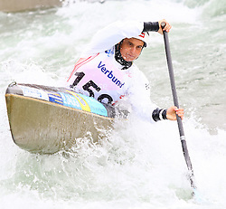 27.06.2015, Verbund Wasserarena, Wien, AUT, ICF, Kanu Wildwasser Weltmeisterschaft 2015, C1 women, im Bild Sabine Eichenberger (SUI) // during the final run in the women's C1 class of the ICF Wildwater Canoeing Sprint World Championships at the Verbund Wasserarena in Wien, Austria on 2015/06/27. EXPA Pictures © 2014, PhotoCredit: EXPA/ Sebastian Pucher