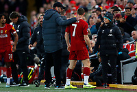 Football - 2019 / 2020 Emirates FA Cup - Third Round: Liverpool vs. Everton<br /> <br /> Jurgen Klopp manager of Liverpool and James Milner of Liverpool at Anfield.<br /> <br /> COLORSPORT/LYNNE CAMERON