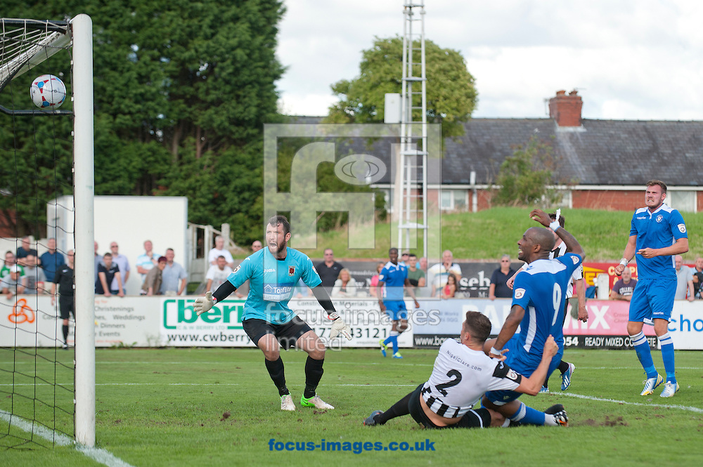 Jefferson Louis of Lowestoft Town scores his team's equalising goal to make it 2-2 during the Conference North match at Victory Park, Chorley<br /> Picture by Russell Hart/Focus Images Ltd 07791 688 420<br /> 09/08/2014