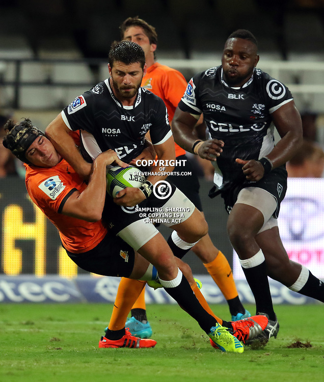 DURBAN, SOUTH AFRICA, 5, MARCH, 2016 - Guido Petti of the Jaguares tackling  Willie le Roux of the Cell C Sharks during The Cell C Sharks vs Jaguares Super Rugby match at Growthpoint Kings Park in Durban, South Africa. (Photo by Anesh Debiky)