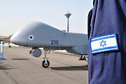 Israel, Tel Nof IAF Base, An Israeli Air force (IAF) exhibition. IAI Heron TP (IAI Eitan) an Unmanned Aerial Vehicle developed by the Malat (UAV) division of Israel Aerospace Industries.