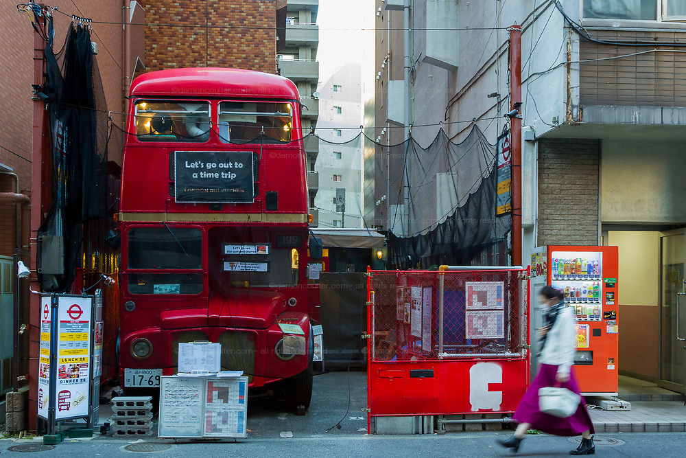 An old London, double-decjker bus used as a restaurant in a back street in Omori, Tokyo, Japan. Friday November 15th 2019