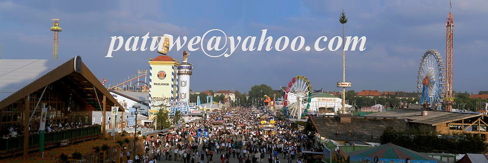 panorama, Oktoberfest in Theresienwiese, Munich, Bavaria, Germany