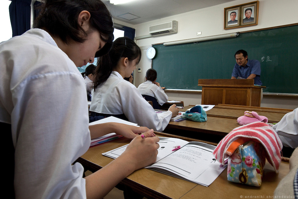 Regular class. Girls at Koran University wear special uniforms that are modeled after the traditional Korean clothes.