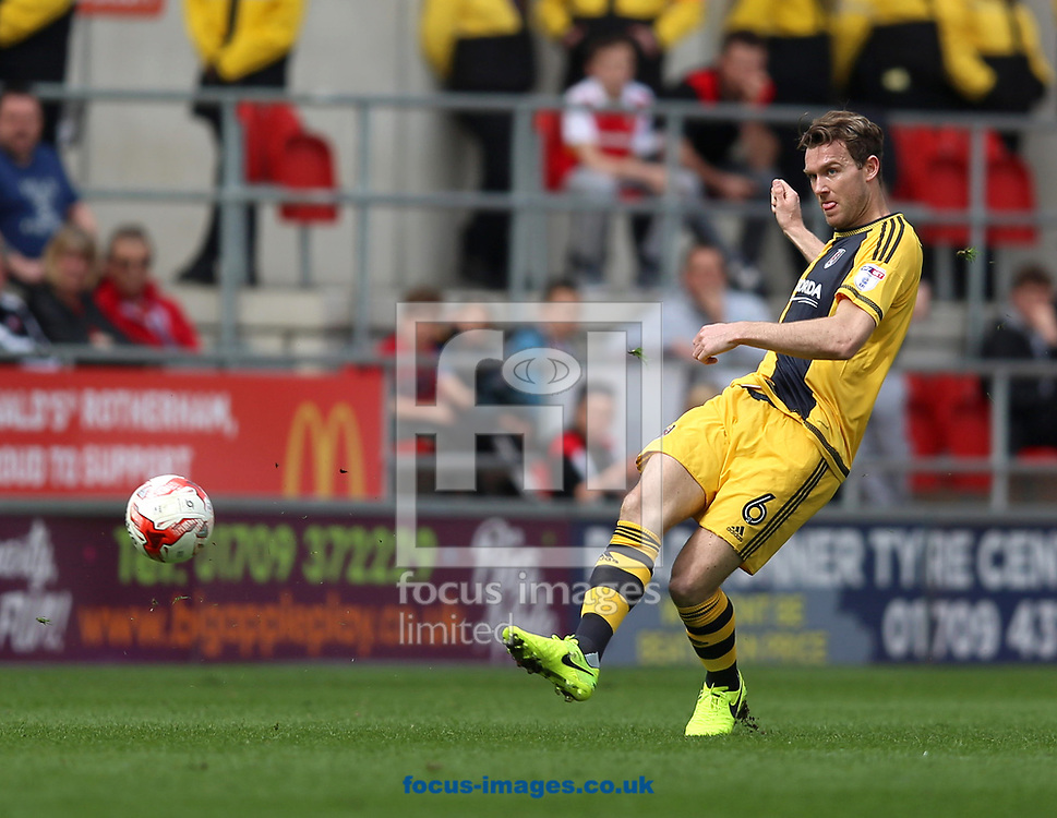 Kevin McDonald of Fulham passes the ball during the Sky Bet Championship match at the New York Stadium, Rotherham<br /> Picture by James Wilson/Focus Images Ltd 07709 548263<br /> 01/04/2017
