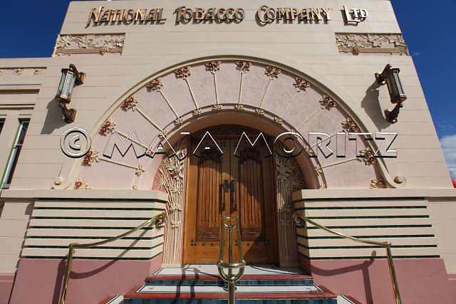 The National Tobacco Company Building is a prominent example of an Art Deco business building, Louis Hay's tour de force was the office building he designed at Ahuriri for this Napier based company in 1932, it has been influenced by Art Nouveau, Art Deco and the Chicago School,