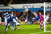 Queens Park Rangers midfielder Bright Osayi-Samuel (20) shoots at goal during the EFL Sky Bet Championship match between Swansea City and Queens Park Rangers at the Liberty Stadium, Swansea, Wales on 11 February 2020.