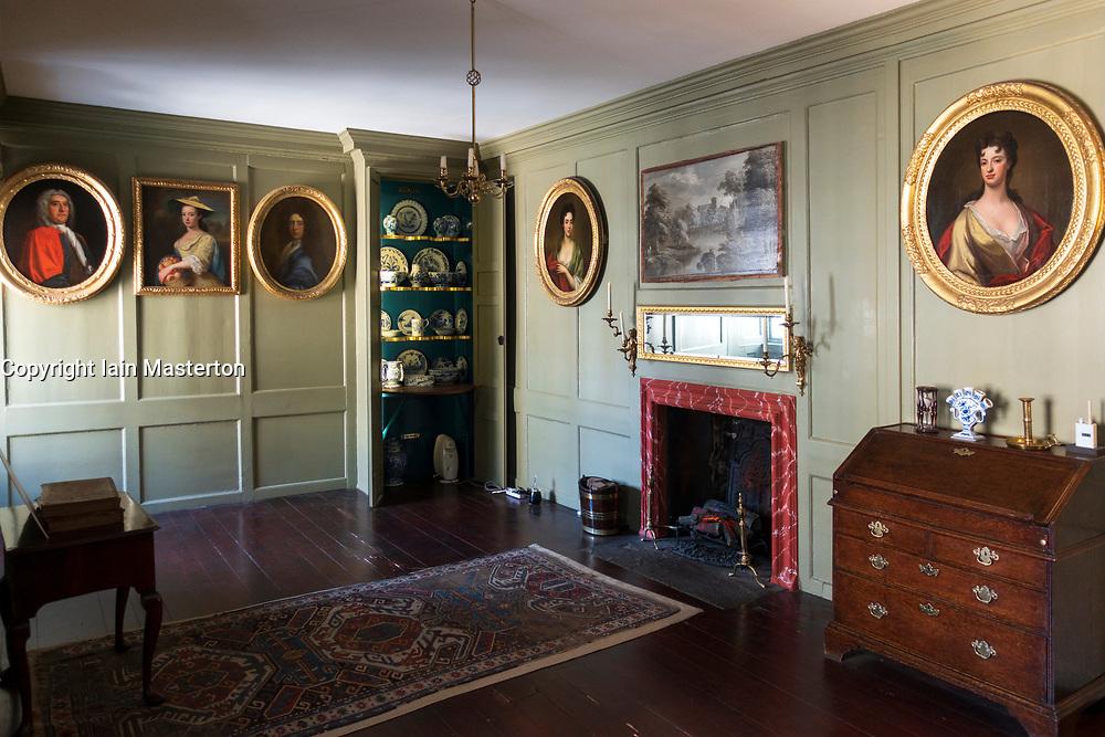 Interior of Georgian Room in Gladstones Land historic building on Royal Mile in Old Town of Edinburgh, Scotland, Uk