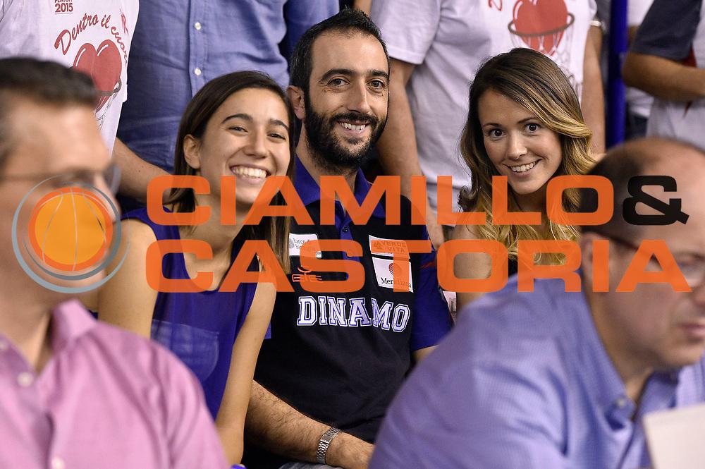 DESCRIZIONE : Campionato 2014/15 Serie A Beko Grissin Bon Reggio Emilia - Dinamo Banco di Sardegna Sassari Finale Playoff Gara7 Scudetto<br /> GIOCATORE : Luigi Peruzzu Eleonora Cherchi<br /> CATEGORIA : vip<br /> SQUADRA : Banco di Sardegna Sassari<br /> EVENTO : Campionato Lega A 2014-2015<br /> GARA : Grissin Bon Reggio Emilia - Dinamo Banco di Sardegna Sassari Finale Playoff Gara7 Scudetto<br /> DATA : 26/06/2015<br /> SPORT : Pallacanestro<br /> AUTORE : Agenzia Ciamillo-Castoria/GiulioCiamillo<br /> GALLERIA : Lega Basket A 2014-2015<br /> FOTONOTIZIA : Grissin Bon Reggio Emilia - Dinamo Banco di Sardegna Sassari Finale Playoff Gara7 Scudetto<br /> PREDEFINITA :