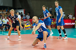 11.09.2014, Centennial Hall, Breslau, POL, FIVB WM, Kanada vs Finnland, 2. Runde, Gruppe F, im Bild Olli Kunnari finland #12 // Olli Kunnari finland #12 during the FIVB Volleyball Men's World Championships 2nd Round Pool F Match beween Canada and Finland at the Centennial Hall in Breslau, Poland on 2014/09/11. EXPA Pictures © 2014, PhotoCredit: EXPA/ Newspix/ Sebastian Borowski<br /> <br /> *****ATTENTION - for AUT, SLO, CRO, SRB, BIH, MAZ, TUR, SUI, SWE only*****