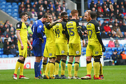 Burton Albion's Kyle McFadzean directs the Burton defence during the EFL Sky Bet Championship match between Cardiff City and Burton Albion at the Cardiff City Stadium, Cardiff, Wales on 30 March 2018. Picture by John Potts.