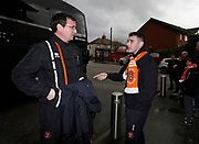 Blackpool's Manager Gary Bowyer talking to a Blackpool fan during the EFL Sky Bet League 1 match between Fleetwood Town and Blackpool at the Highbury Stadium, Fleetwood, England on 25 November 2017. Photo by Paul Thompson.
