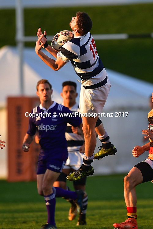 Aucklands Matt Storm jumps for the ball during the Jock Hobbs Memorial trophy final rugby match between the Auckland and Waikato at Owen Delany Park in Taupo on Saturday the 16th September 2017. Copyright Photo by Marty Melville / www.Photosport.nz