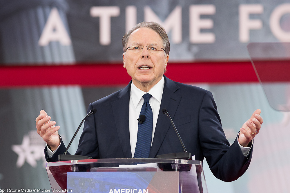 Wayne LaPierre, Executive Vice President of the National Rifle Association, at the Conservative Political Action Conference (CPAC) sponsored by the American Conservative Union held at the Gaylord National Resort & Convention Center in Oxon Hill, MD on February 22, 2018