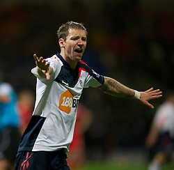 BOLTON, ENGLAND - Saturday, January 21, 2011: Bolton Wanderers' Gretar Rafn Steinsson screams at a ball-boy to leave the ball alone to waste time as his side lead 3-1 against Liverpool during the Premiership match at the Reebok Stadium. (Pic by David Rawcliffe/Propaganda)
