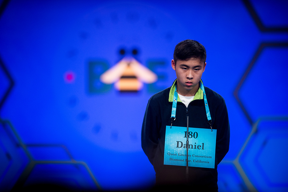 Andrew Chen, 14, from Chino Hills, Calif., participates in the finals of the 2017 Scripps National Spelling Bee on Thursday, June 1, 2017 at the Gaylord National Resort and Convention Center at National Harbor in Oxon Hill, Md.      Photo by Pete Marovich/UPI