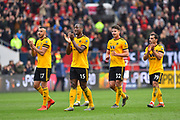 The Wolverhampton players celebrates the 1-0 win over Bristol City at full time during the The FA Cup 5th round match between Bristol City and Wolverhampton Wanderers at Ashton Gate, Bristol, England on 17 February 2019.