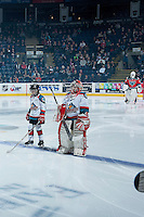 KELOWNA, CANADA - NOVEMBER 5: Pepsi Save On Foods players of the game line up on the blue line at the start of the game between the Medicine Hat Tigers and the Kelowna Rockets on November 5, 2016 at Prospera Place in Kelowna, British Columbia, Canada.  (Photo by Marissa Baecker/Shoot the Breeze)  *** Local Caption ***
