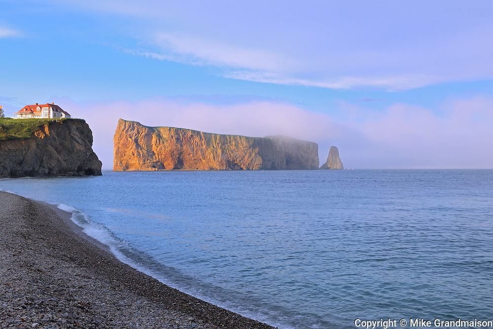 Percé Rock or Le Rocher Percé in the Atlantic Ocean<br /> Percé<br /> Quebec<br /> Canada