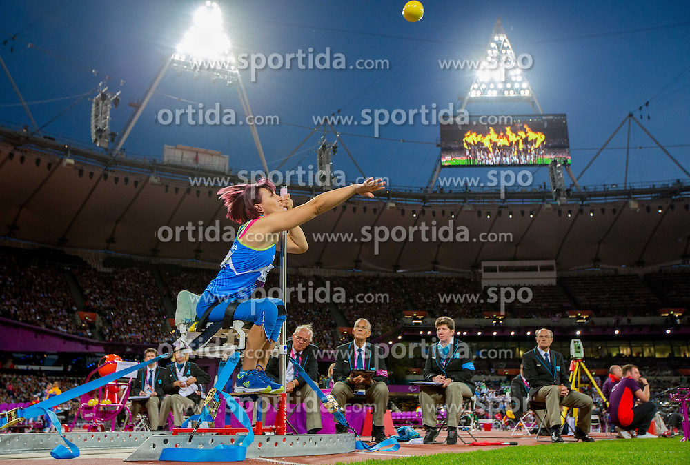 Tatjana Majcen Ljubic of Slovenia competes in the Women's Shot Put F54 in athletics during Day 4 of the Summer Paralympic Games London 2012 on September 1, 2012, in Olympics stadium, London, Great Britain. (Photo by Vid Ponikvar / Sportida.com)