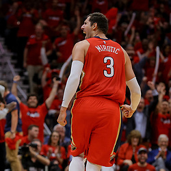 Apr 19, 2018; New Orleans, LA, USA; New Orleans Pelicans forward Nikola Mirotic (3) celebrates after a three point basket against the Portland Trail Blazers during the second quarter in game three of the first round of the 2018 NBA Playoffs at the Smoothie King Center. Mandatory Credit: Derick E. Hingle-USA TODAY Sports