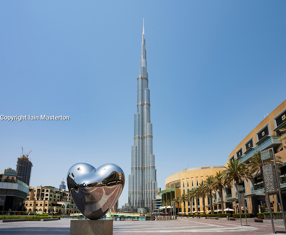 View of the Burj Khalifa skyscraper and Dubai Mall in Downtown Dubai, UAE
