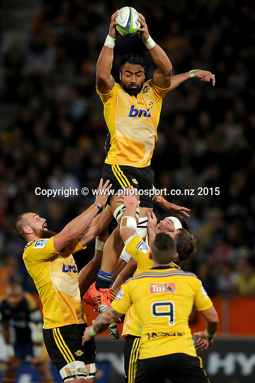 Victor Vito of the Hurricanes receives the ball from a lineout, during the Super Rugby Match between the Highlanders and the Hurricanes, at Forsyth Barr Stadium, Dunedin, New Zealand, 20 March 2015. Credit: Joe Allison / www.photosport.co.nz