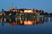 Wawel Hill with Royal Castle and Cathedral across the Vistula River, Krakow, Poland