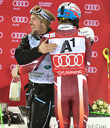 26.01.2016, Planai, Schladming, AUT, FIS Weltcup Ski Alpin, Schladming, Slalom, Herren, Siegerehrung, im Bild v.l.: Marcel Hirscher (AUT, 2. Platz), Sieger Henrik Kristoffersen (NOR) // f.l.t.r: 2nd placed Marcel Hirscher of Austria, Winner Henrik Kristoffersen of Norway celebrates on Podium during the winner award ceremony of men's Slalom Race of Schladming FIS Ski Alpine World Cup at the Planai in Schladming, Austria on 2016/01/26. EXPA Pictures © 2016, PhotoCredit: EXPA/ Erich Spiess