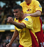 Photo: Tony Oudot.<br />Watford v Charlton Athletic. The Barclays Premiership. 03/03/2007.<br />Hameur Bouazza  of Watford celebrates his goal and Watfords first