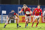 Canadian player Evan Olmstead looks to break a tackle in the second half during the Rugby World Cup qualifier between Hong Kong and Canada at Stade Delort, Marseilles, France on 23 November 2018. Picture by Ian  Muir.