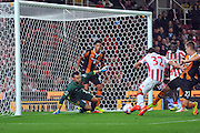 Stoke City striker Ramadan Sobhi is open on goal in the final seconds of the game to bring his side level but hits it to the goalie during the EFL Cup match between Stoke City and Hull City at the Britannia Stadium, Stoke-on-Trent, England on 21 September 2016. Photo by John Marfleet.