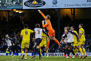 Daniel Bentley of Southend United punches the ball clear during the Sky Bet League 2 match at Roots Hall, Southend<br /> Picture by David Horn/Focus Images Ltd +44 7545 970036<br /> 10/01/2015