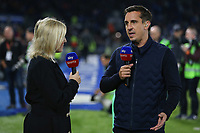 Football - 2018 / 2019 Premier League - Brighton and Hove Albion vs. West Ham United<br /> <br /> Sky pundit Gary Neville and Kelly Cates at The Amex Stadium Brighton <br /> <br /> COLORSPORT/SHAUN BOGGUST