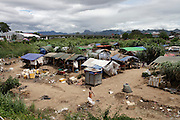 A makeshift camp of burmese people in the no man's land between Thailand and Myanmar