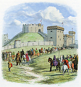 Empress Matilda (1102-1167) daughter and heiress of William I of England, allowed by the King, Stephen, to leave Arundel castle for Gloucester 1139. Colour-printed wood engraving c1860.