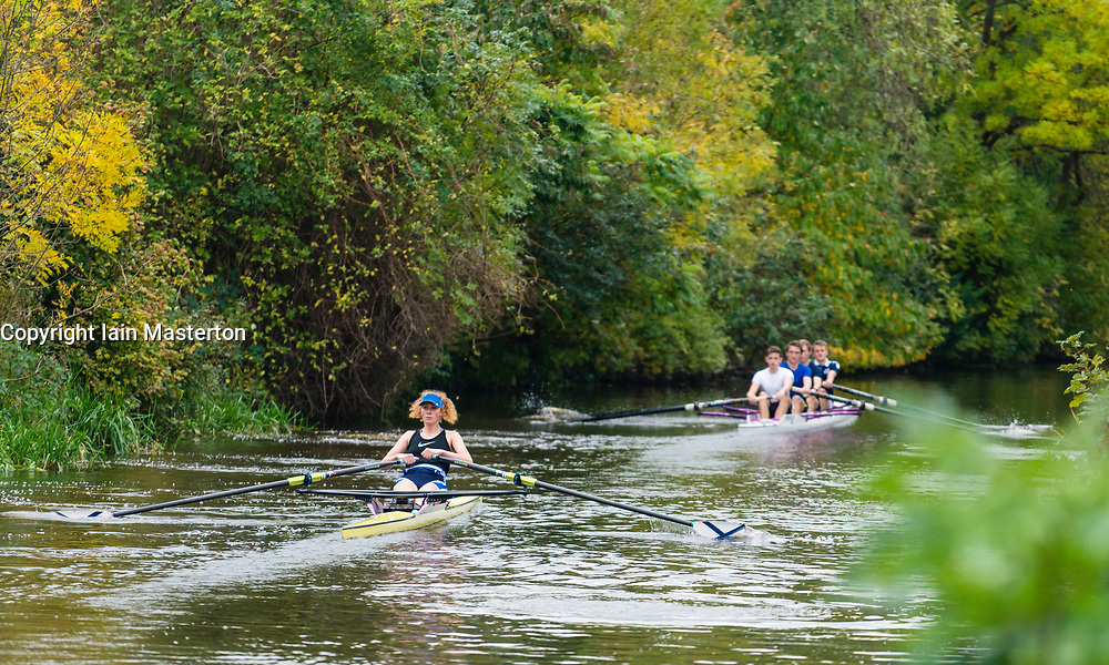 Student rowers rowing on Union Canal in central Edinburgh, Scotland, United Kingdom