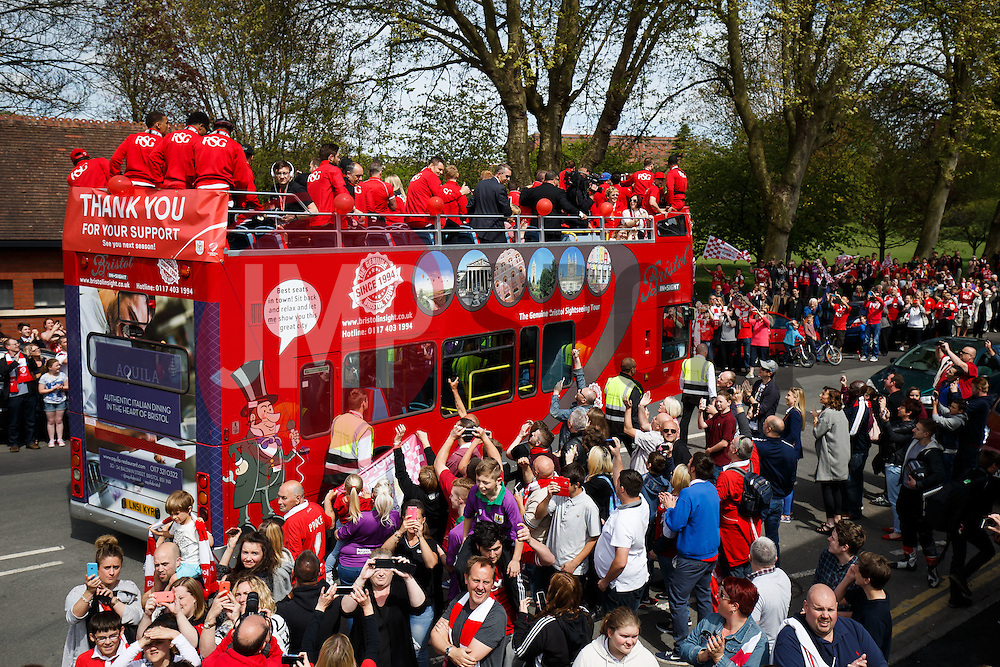Bristol City open top bus parade to celebrate winning both the League 1 and Johnstone's Paint Trophy titles this season and promotion to the Championship - Photo mandatory by-line: Rogan Thomson/JMP - 07966 386802 - 04/05/2015 - SPORT - FOOTBALL - Bristol, England - Bristol City Bus Parade.