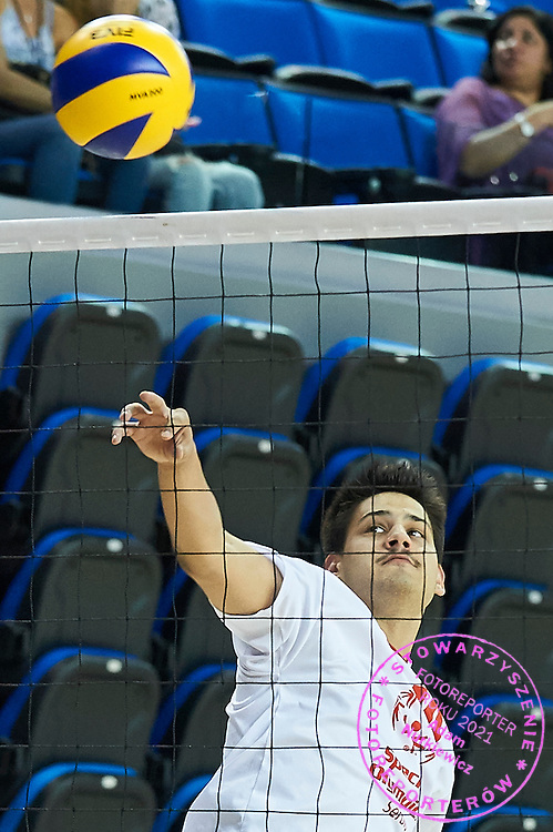 SO Serbia athlete (L) in action while volleyball men match between SO Serbia and SO Botswana during fourth day of the Special Olympics World Games Los Angeles 2015 on July 28, 2015 at Pauley Pavillon UCLA (University of California, Los Angeles) in Los Angeles, USA.<br /> USA, Los Angeles, July 28, 2015<br /> <br /> Picture also available in RAW (NEF) or TIFF format on special request.<br /> <br /> For editorial use only. Any commercial or promotional use requires permission.<br /> <br /> Adam Nurkiewicz declares that he has no rights to the image of people at the photographs of his authorship.<br /> <br /> Mandatory credit:<br /> Photo by &copy; Adam Nurkiewicz / Mediasport