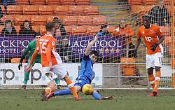 Jack Baldwin of Peterborough United makes a sliding block to deny Sean Longstaff of Blackpool - Mandatory by-line: Joe Dent/JMP - 18/02/2018 - FOOTBALL - Bloomfield Road - Blackpool, England - Blackpool v Peterborough United - Sky Bet League One