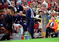Arsenal Manager Arsene Wenger looks on as his team struggle to a draw with Bradford City. Bradford City 1:1 Arsenal, F.A. Carling Premiership, 9/9/2000. Credit Colorsport / Stuart MacFarlane.