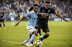 August 9, 2017 - Kansas City, Kansas, United States - Kansas City, KS - Wednesday August 9, 2017: Latif Blessing, Darwin Ceren during a Lamar Hunt U.S. Open Cup Semifinal match between Sporting Kansas City and the San Jose Earthquakes at Children's Mercy Park. (Credit Image: © Amy Kontras/ISIPhotos via ZUMA Wire)