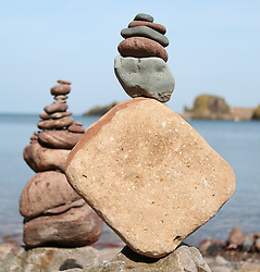 European Stone Stacking 2019 21 April 2019; an entry into the European Stone Stacking 2019 at Eye Cave Beach, Dunbar.<br /> <br /> (c) Chris McCluskie | Edinburgh Elite media