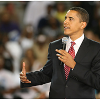 Presidential candidate Barack Obama speaks Thursday at Minges Coliseum in Greenville. (Jason A. Frizzelle)